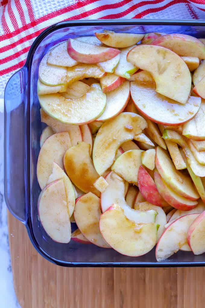 Sliced apples ready to be baked for apple crumble