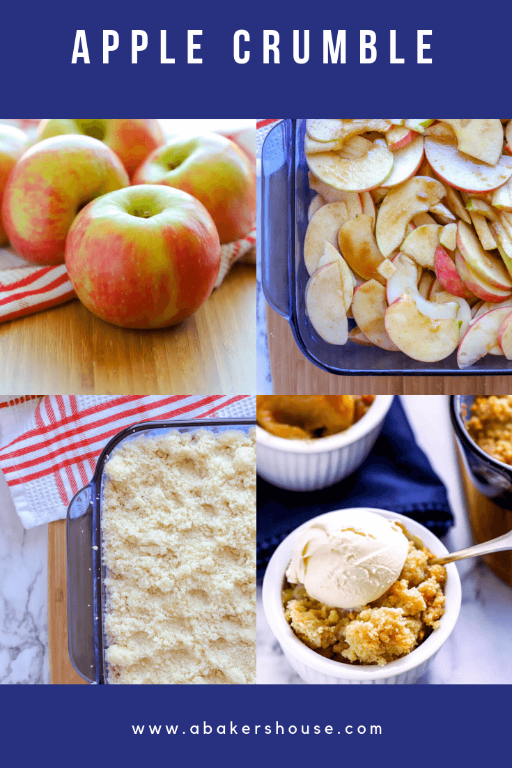 Apple crumble is a simple dessert recipe that yields beautiful results time after time. Sliced apples mixed with sugar and spices bake under a streusel topping that can be made traditional or gluten free. Don't let the fall season pass you by without trying this family favorite dessert! #abakershouse #apples #appledessert #fallbaking #crumble #crisp #glutenfree #glutenfreebaking