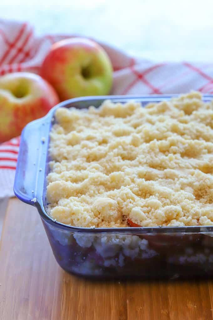 gluten free apple crumble before baking