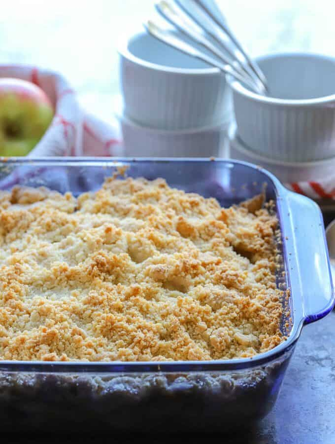 Freshly baked gluten free apple crumble