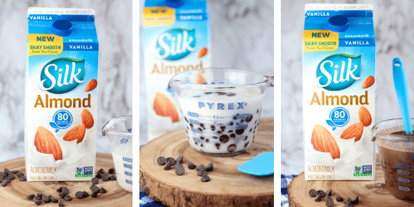 three photos of Silk Almondmilk and chocolate chips