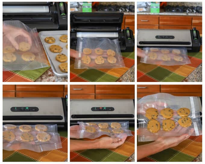 Collage of photos how to freeze cookie dough with FoodSaver
