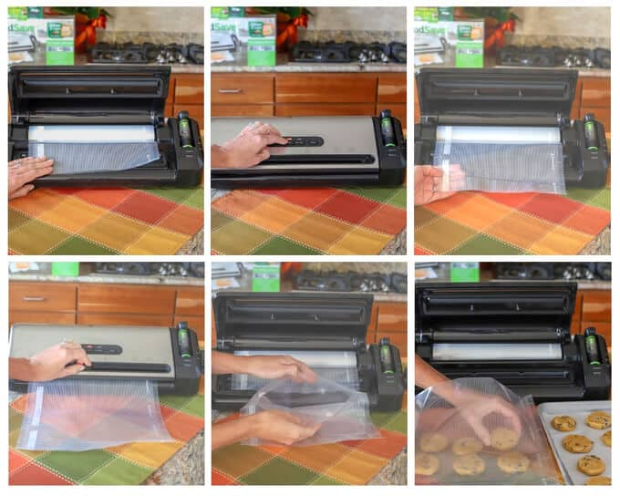 six photos showing how to make a bag with FoodSaver