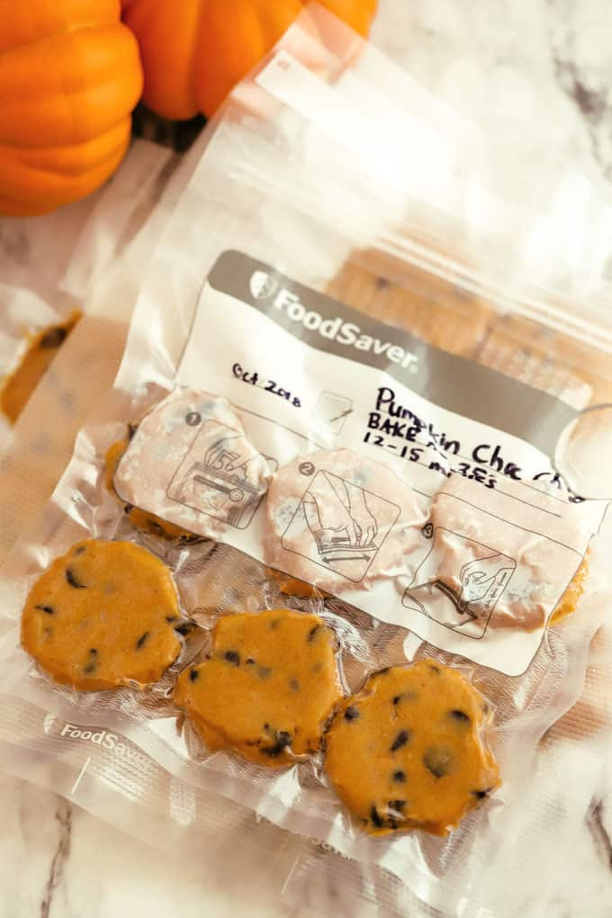 Foodsaver bag filled with cookie dough ready to freeze