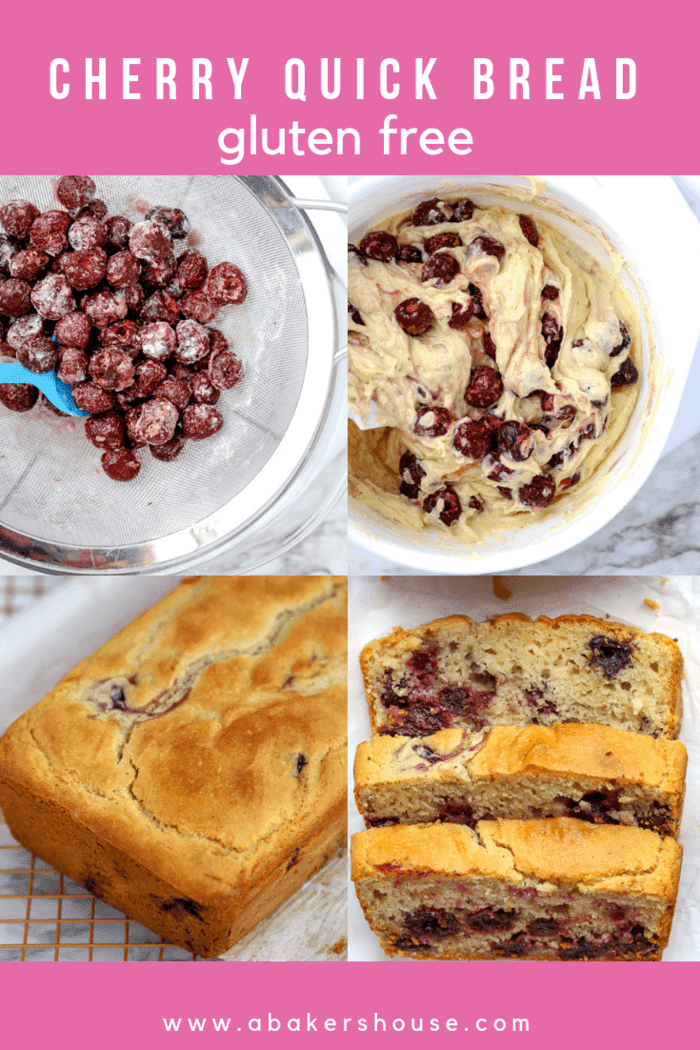 A recipe for gluten free Cherry Quick Bread or traditional cherry quick bread can be made in a loaf pan or in muffins tins. Baking with frozen cherries makes this an easy recipe for any time of year. #abakershouse #cherry #cherries #frozenberries #frozencherries #quickbread #cherrybread #easyrecipe