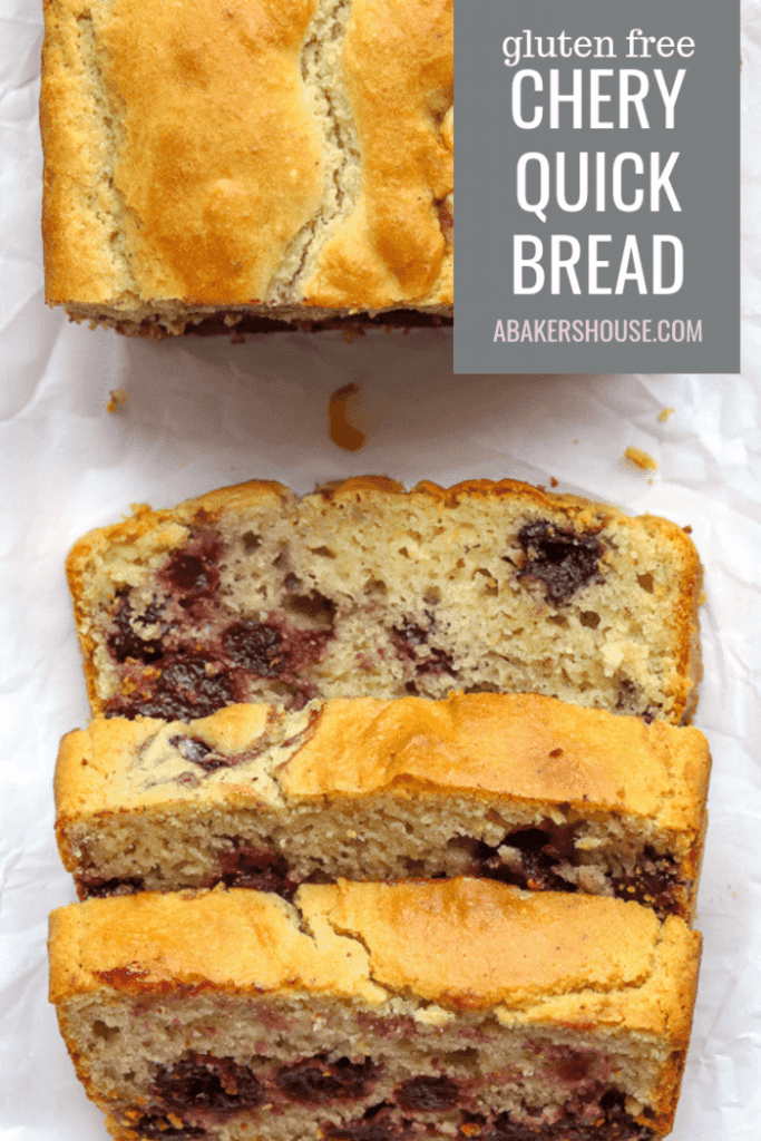 Pinterest Photo for Gluten free cherry quick bread sliced