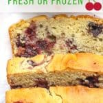 Pinterest image with sliced gluten free cherry bread