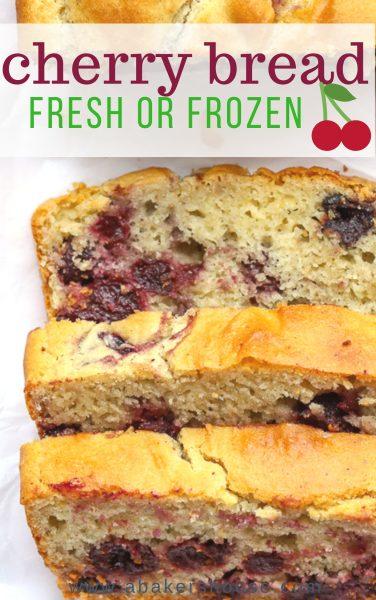 Pinterest image with sliced gluten free cherry bread