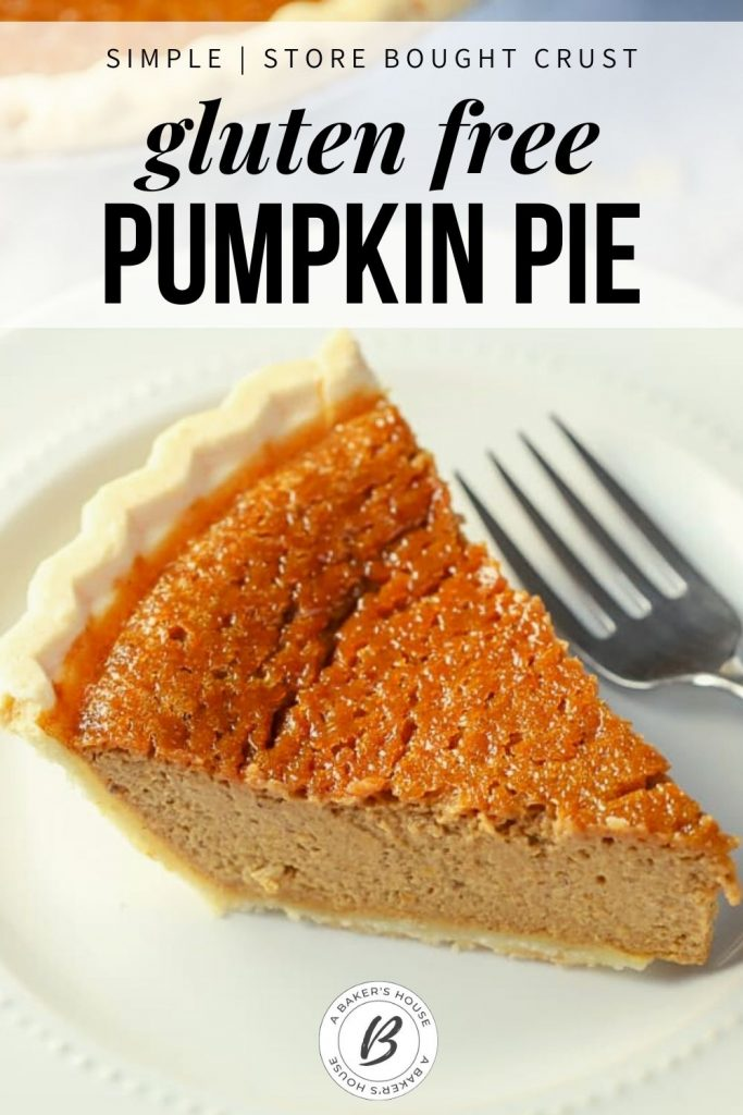 single slice of gluten free pumpkin pie on white plate