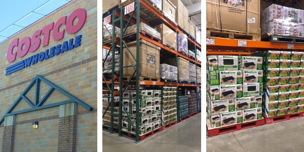 Three photos showing where in Costco to find the FoodSaver