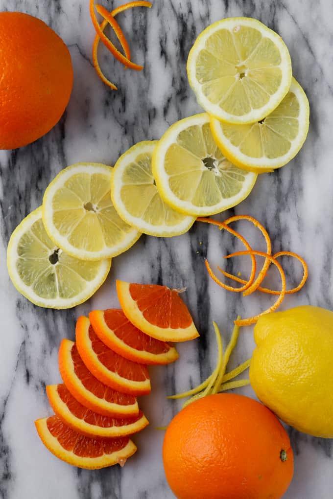 Sliced blood oranges and lemons