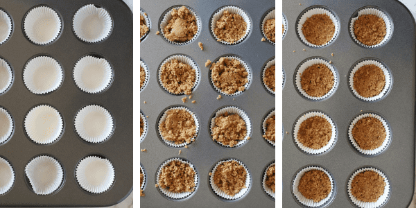 Three photos of steps to fill mini muffin tins with graham cracker crust