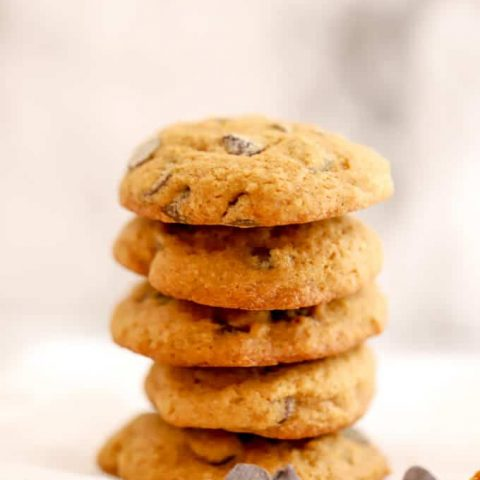 Stack of gluten free pumpkin cookies