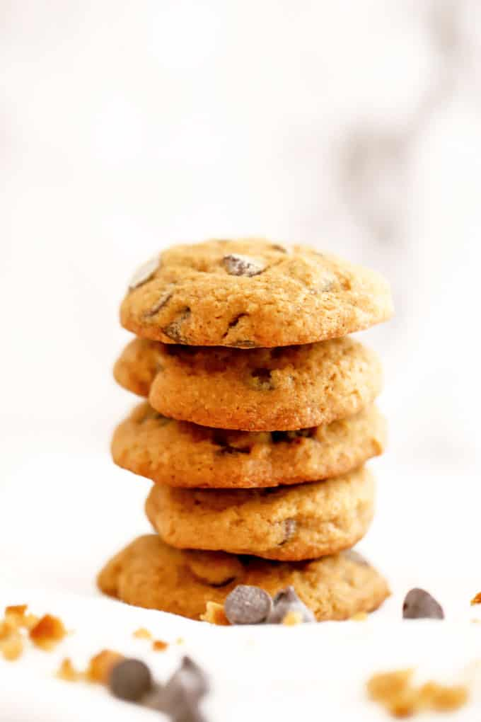 Stack of gluten free pumpkin chocolate chip cookies