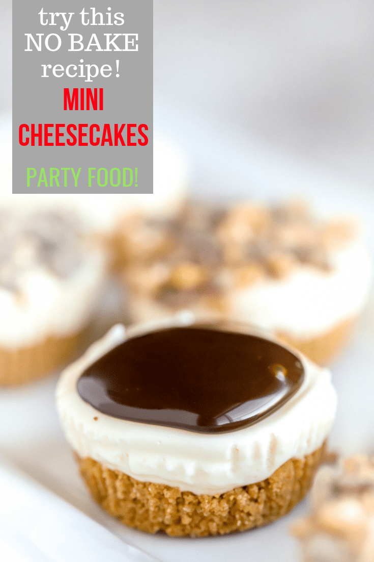 No Bake Cheesecake Bites are always welcome at a party! A graham cracker crust is layered with a smooth, cheesecake layer. Making no bake mini cheesecake gluten free is simple: use gluten free graham crackers for the crust. The rest of the ingredients are naturally gluten free. #abakershouse #cheesecake #partyfood #smallbites #nobake