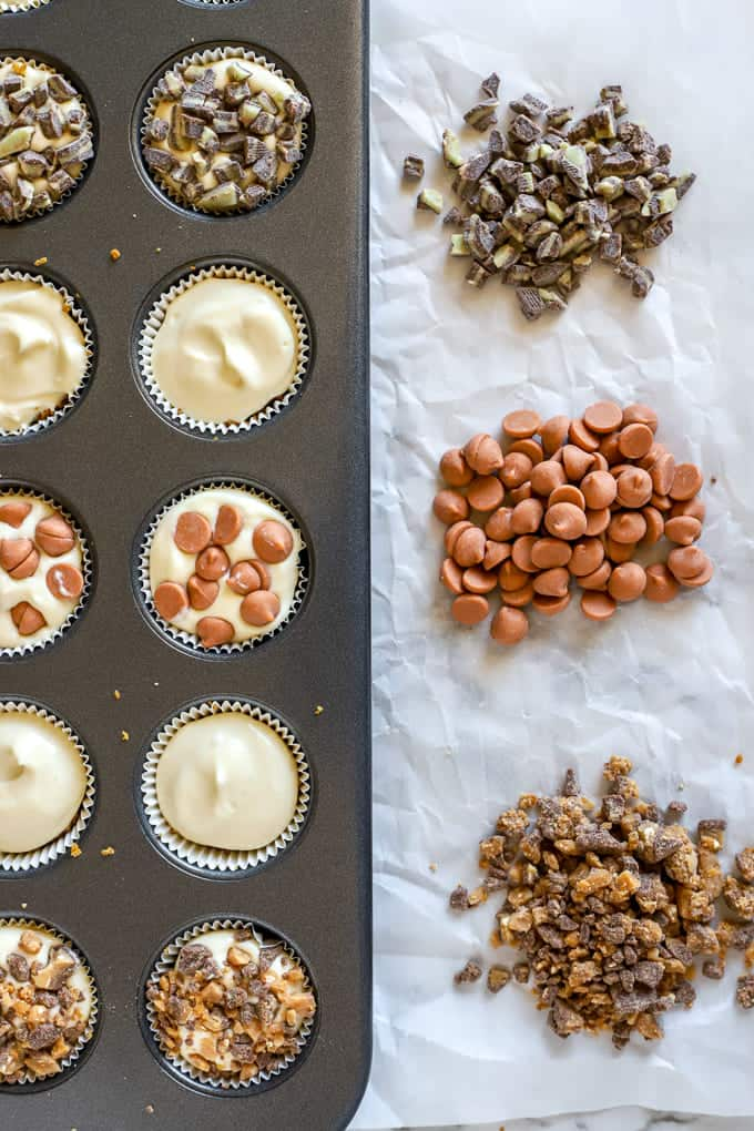Three topping choices for no bake mini cheesecake bites