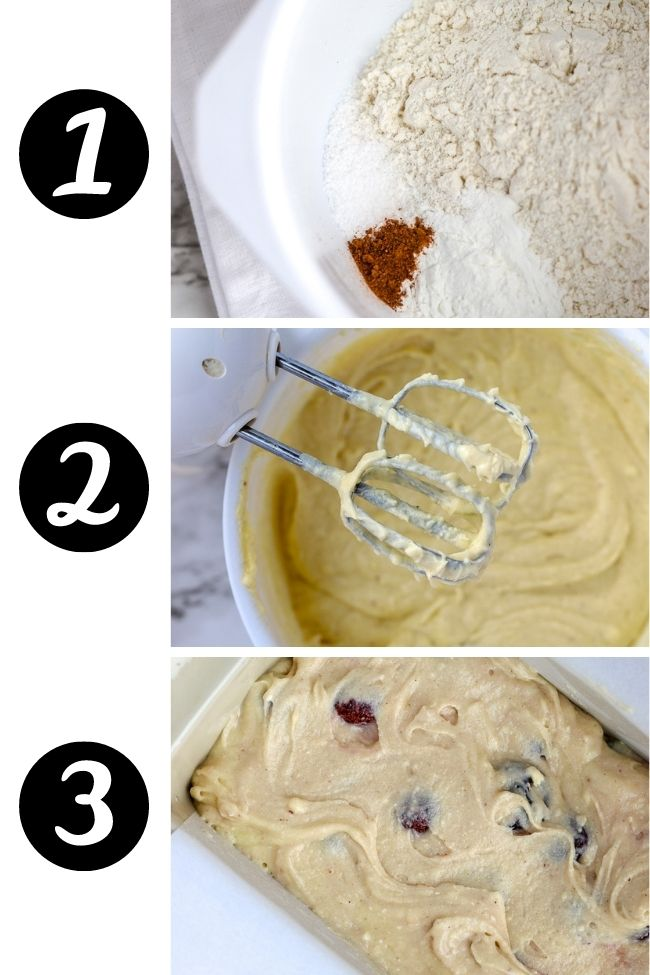 three photos showing steps to make cherry bread with dry, wet, and combined ingredients