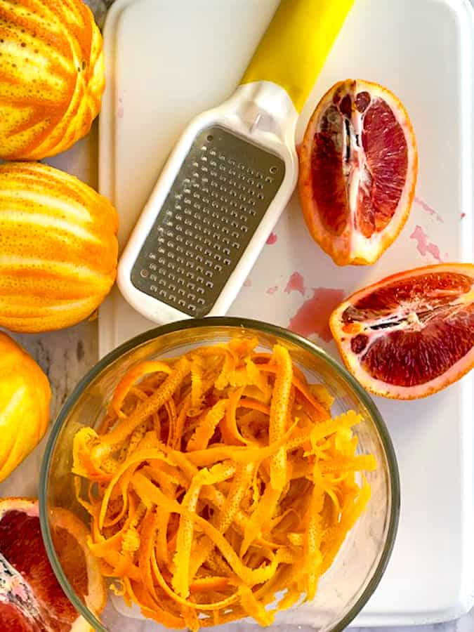 Zest of oranges and lemons are needed for making homemade marmalade