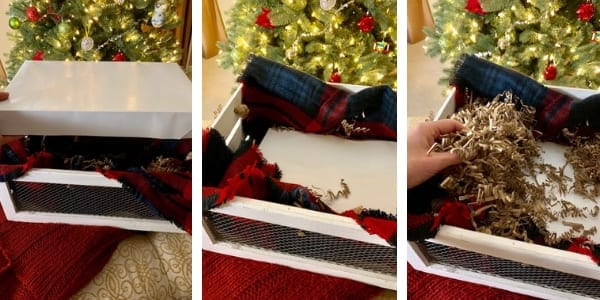 fill a container with a cardboard box for gift basket