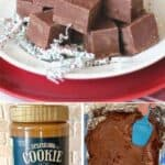 Three photo collage of cookie butter fudge and ingredients