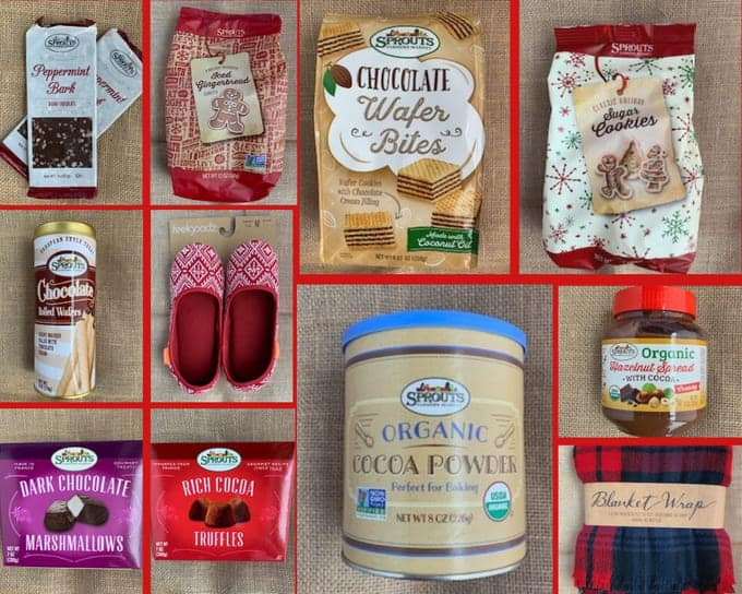 Photo collage of 11 items in the Sprouts chocolate gift basket