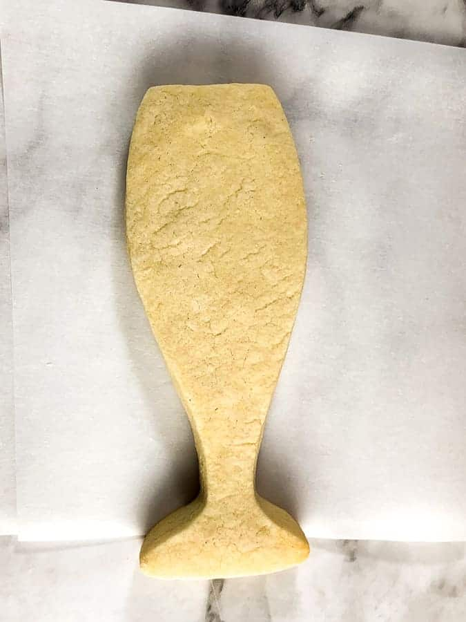 Baked cookie in the shape of a champagne flute