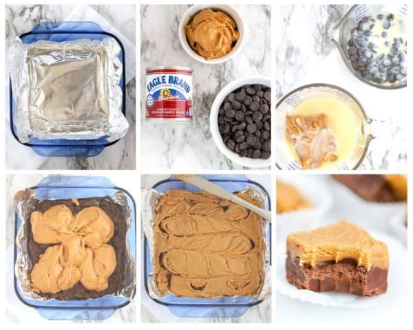 Collage of steps to make microwave chocolate peanut butter fudge