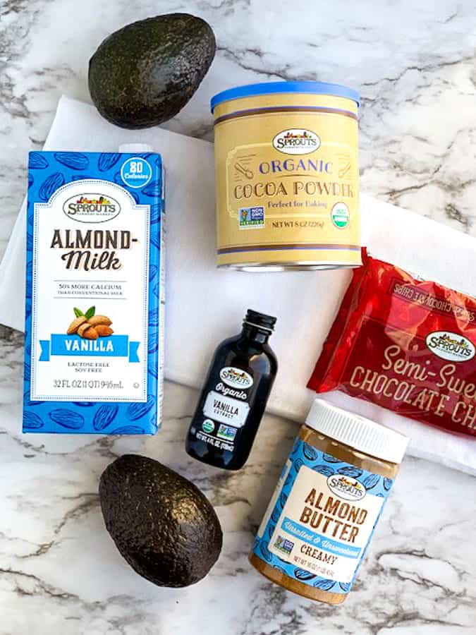 Ingredients from Sprouts for avocado chocolate pudding