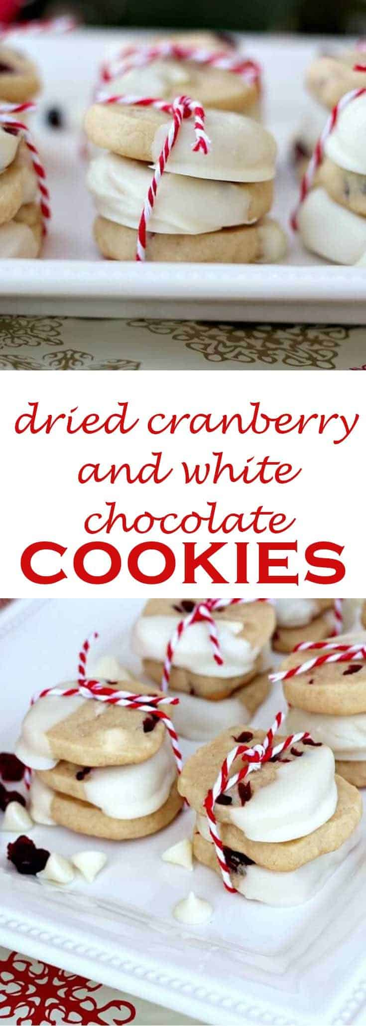 Dried cranberry and white chocolate cookies are decked out for the holidays when dipped in white chocolate! #christmascookies #cookierecipe #driedcranberries #driedcherries #abakershouse
