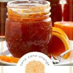 Pinterest image of cara cara orange marmalade and free printable label
