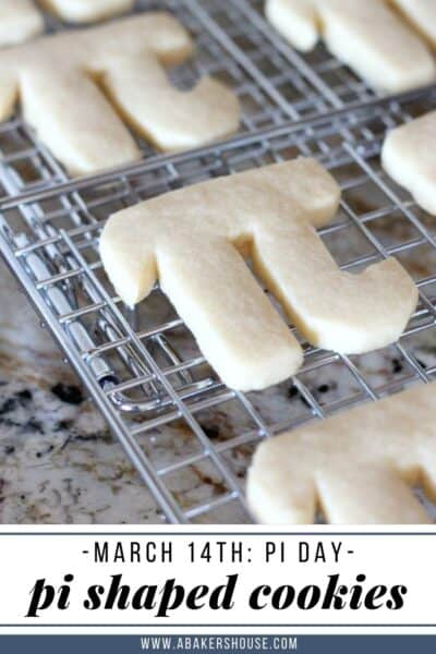 Pinterest image with pi day cookies on wire cooling rack