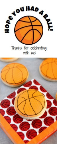 Basketball cookie and printable label for party favors
