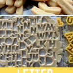 Two images of cookie dough and baked cookies for letter alphabet cookies homemade