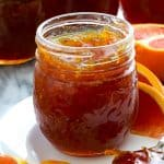 open jar of cara cara orange marmalade homemade jam