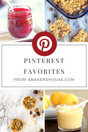 Cover page for e book with Pinterest favorite recipes and ideas from A baker's house