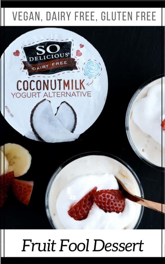 Pinterest image for vegan strawberry banana fruit fool