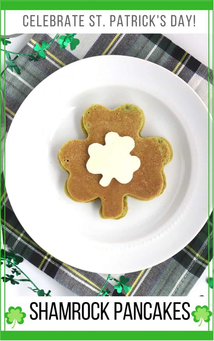 Green spinach pancakes are fun for your St. Patrick's Day breakfast! You'll be surprised that these family-friendly pancakes don't have an overwhelming taste of spinach. Make the shamrock shaped pancakes easily with cookie cutters!#greenpancakes #shamrock #Stpatricksday #healthybreakfast #stpaddysday #greenbreakfast #irishbreakfast #abakershouse #lovesprouts #ad