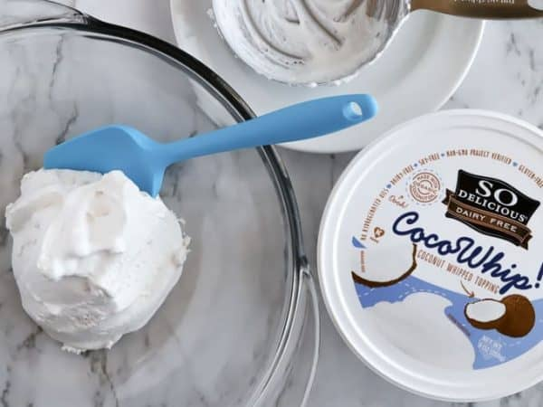 Cocowhip coconut whipped topping in a glass bowl