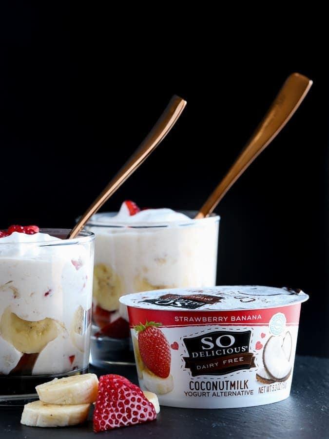 So Delicious yogurt alternative made into strawberry fruit fool recipe