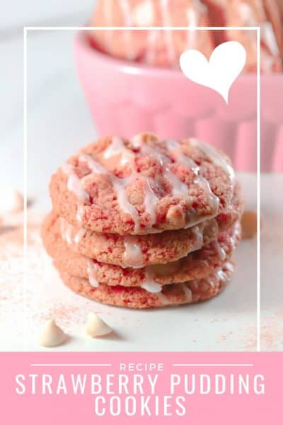 Pinterest image for stack of pink strawberry cookies for Valentines treat