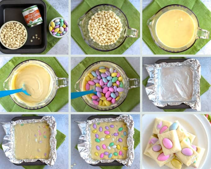Step by step photo collage of how to make Easter fudge