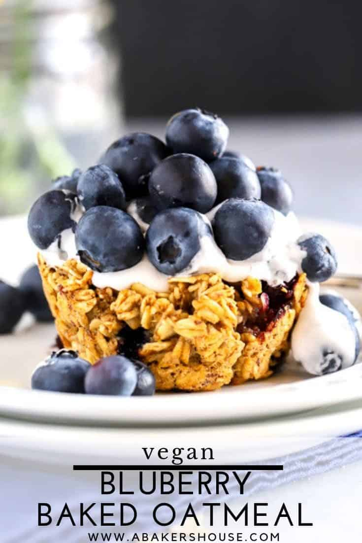 #ad Blueberry baked oatmeal cups made with Oat Yeah™ then topped with Cocowhip™ and loaded with fresh blueberries make a beautiful vegan and dairy-free dessert. #OatYeah #LoveMySilk #ProgressIsPerfection #LoveSprouts #VeganDessert #PlantBased #vegan #glutenfree #dairyfree #bakedoats #abakershouse