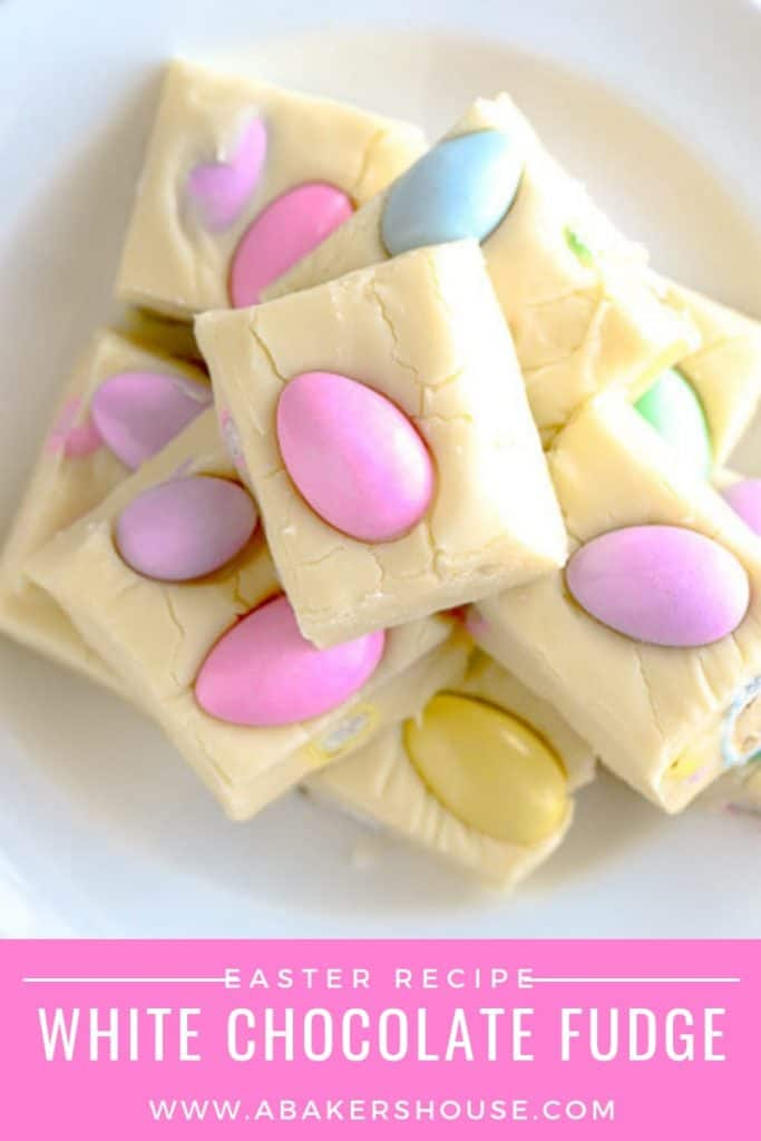 Pastel Jordan almonds on top of squares of white fudge for Easter