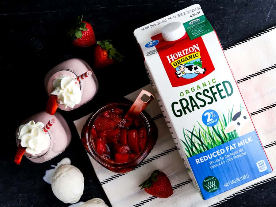 overhead photo of roasted strawberries, milkshakes and milk from Horizon Organic
