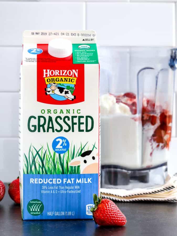 Horizon Organic Grassfed milk with ingredients for a roasted strawberry milkshake