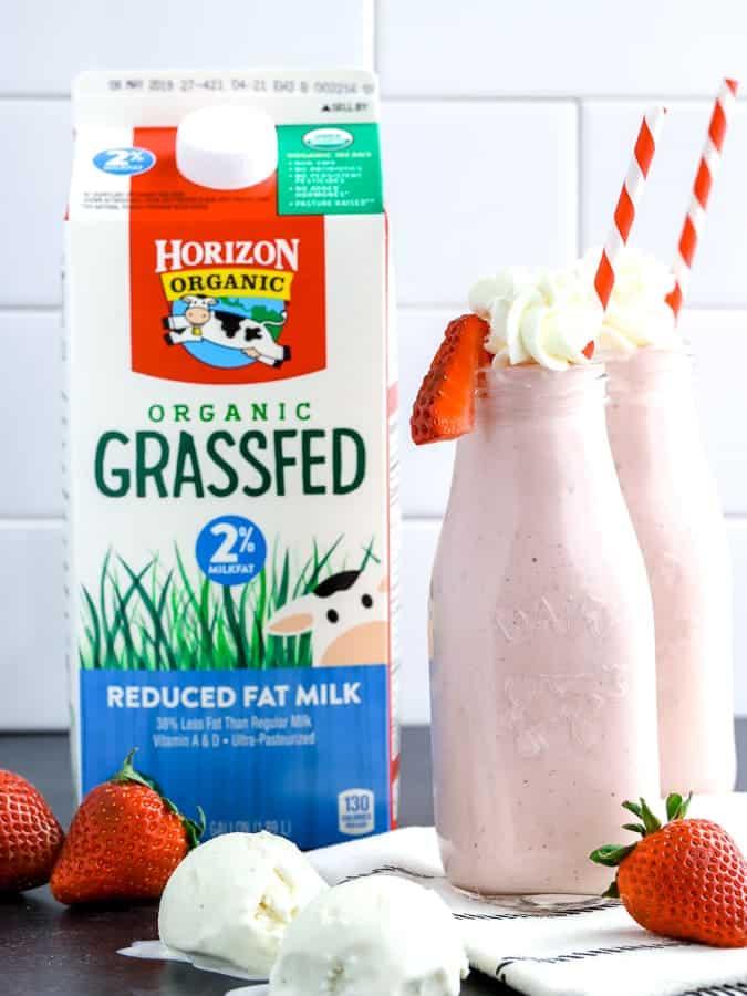 Roasted Strawberry Milkshakes made with Horizon Organic Grassfed milk