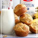 Milk with a tower of banana muffins