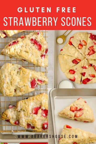 Three photos of steps of making strawberry scones