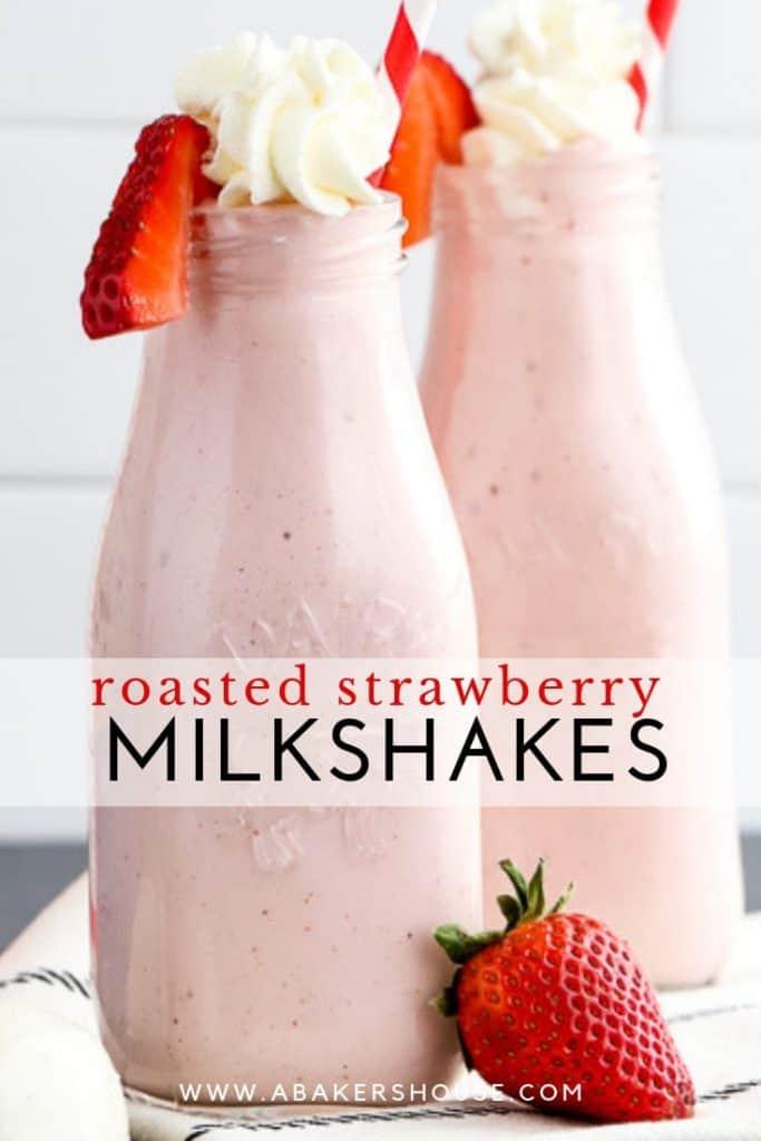 Pinterest image for roasted strawberry milkshakes