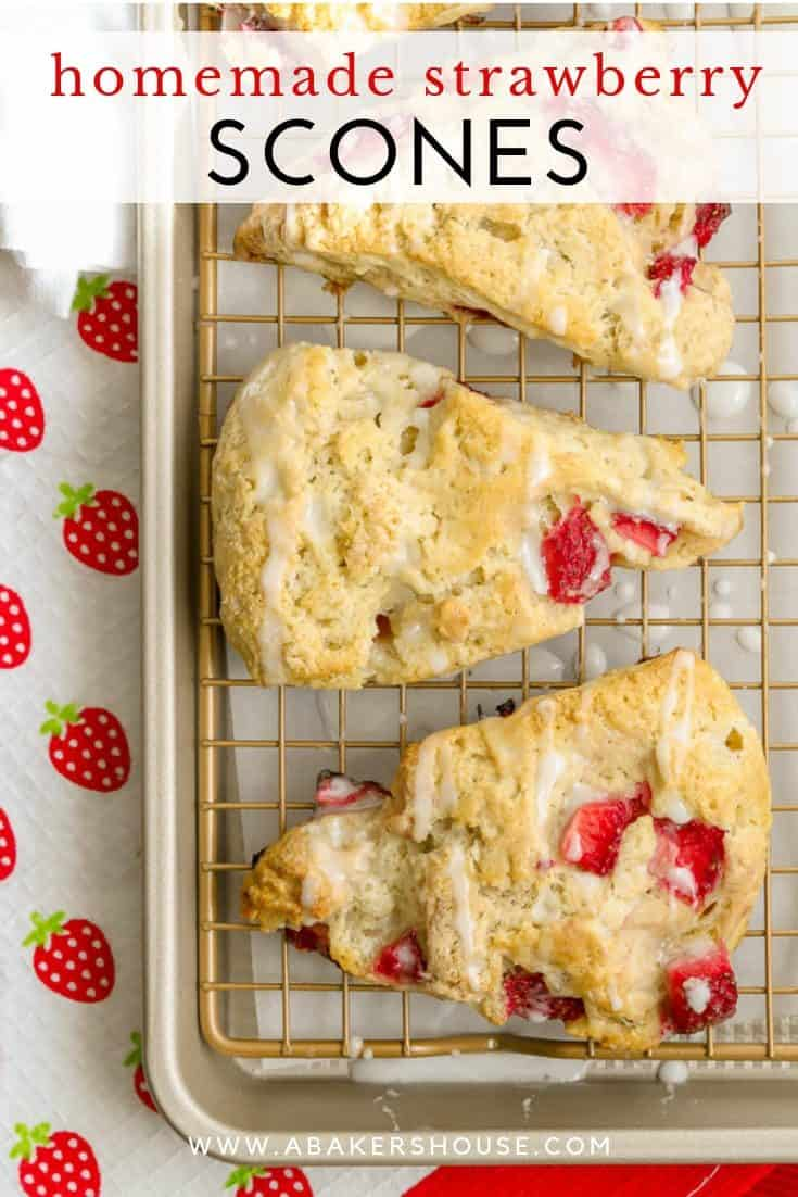 Strawberry Scones are easy to make and a perfect brunch recipe. Once you learn the basics of how to make homemade scones, you can make any scones flavor.  Adding fresh organic strawberries to a traditional scone is a great combination! Top these gluten free scones with a quick drizzle of a sweet glaze to finish them off. #strawberries #scones #MothersDay #brunchrecipe #strawberryrecipes #Britishtea #abakershouse